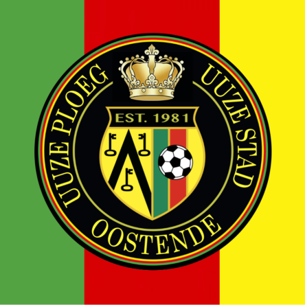 "vlag groen-rood-geel ""uuze ploeg uuze stad"" logo"